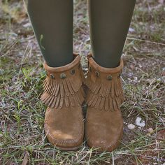 Double Fringe Side Zip Boots via rootsandfeathers.com Side Zip Boots b7ed651c37ec