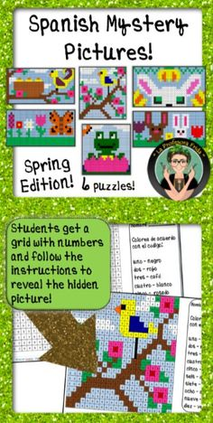 Spanish Mystery Pictures, Color By Number Grids, Spring Themed Resources, No Prep Lesson Plans for Spanish Teachers, La Profesora Frida, TeachersPayTeachers, 6 Spanish Puzzles, Brain Breaks, Morning Work, Stations, Centers, Emergency Substitute Plans for Spanish Teachers