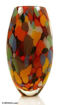 Latitude Run Estrellas Carnival Hand Blown Art Glass Vase Murano Glass Vase, Dichroic Glass, Fused Glass, Tropical Colors, Stained Glass Art, Handmade Home Decor, Vases Decor, Hand Blown Glass, Flower Vases