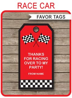 INSTANT DOWNLOADS of Race Car Party Favor Tags. Personalize the printable template at home and attach to your Race Car birthday party favors. Download Now!