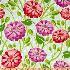 Michael Miller Lush Zinnia Garden Sky
