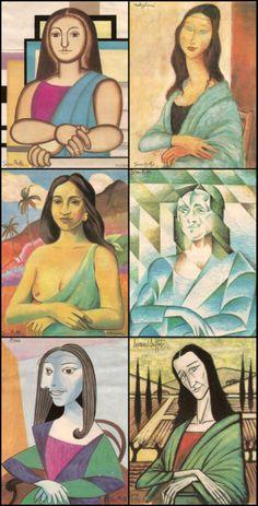 Jocondes [Jean Ache] (Gioconda / Mona Lisa) s à la manière de Picasso, Modigliani., Gauguin..