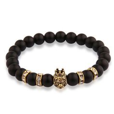 Animal Charms Bracelets for Men Women Natural Stone Jewelry with Crystal Woman's Man's Lion Bracelet Bangle Beads Bangles