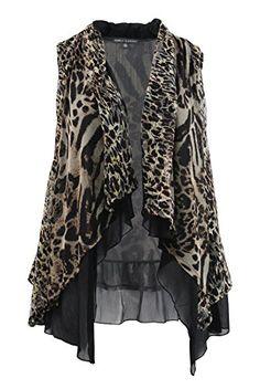 33afb8e52e3 Simply Elegant Womens Plus Size Leopard Print Sleeveless Cardigan 3X   gt  gt  gt