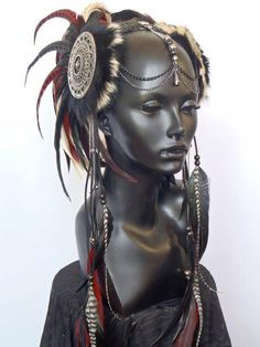 MADE TO ORDER Red, Black & Cream Warrior Style Headdress. $385.00, via Etsy.