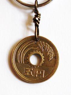 Coin Keychain Japanese 5 Yen Good Luck Handmade Key by Hendywood