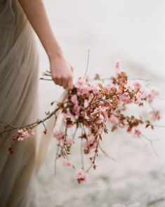 We are so in love with this coastal cherry blossom editorial and we are deeply impressed by the artful pictures by Cherry Blossom Bouquet, Cherry Blossom Wedding, Cherry Blossom Petals, Wedding Bouquets, Wedding Flowers, Wedding Dresses, Spring Blossom, Flowers Nature, Destination Wedding Photographer