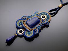 Sapphire gold soutache necklace with Lapis lazuli. by ANBijou