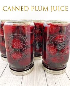 This Canned Plum Juice Recipe taste so fresh and delicious! I grew up canning different kinds of fruits with my mom and still enjoy doing it to this day. #cannedplumjuice #homemadeplumjuice #thefarmgirlblog | thefarmgirlblog.com Plum Juice, Different Kinds Of Fruits, Canned Juice, Plum Recipes, Girl Blog, Food Storage, A Food, Yummy Food, Marmalade