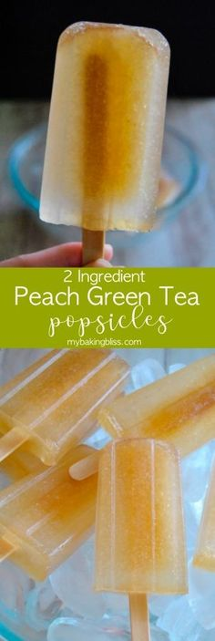 Peach Green Tea Popsicles - delicious, two ingredient peach green tea popsicles that will remind you of Starbucks. An easy and refreshing summer treat Green Tea Lemonade, Peach Green Tea, Green Tea Drinks, Green Tea Cups, Green Tea Ice Cream, Green Teas, Healthy Starbucks, Starbucks Recipes, Starbucks Drinks