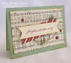 Jingle All The Way, Home For Christmas DSP Christmas card #MyStampinHaven #StampinUp #2015HolidayCatty