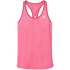 adidas Triple Threat Keyhole Tank ($20) ❤ liked on Polyvore featuring activewear, activewear tops, adidas, adidas activewear and adidas sportswear