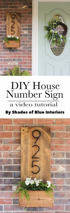 How to make a vertical house number sign for your home exterior, easily mountable right by a front door. Includes a little planter to add some pretty color.