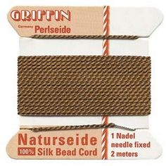 Supplies-Natural Silk Cord-Size 04 Griffin Thread-Attached Twisted Needle-Brown-2 Meter-Quantity 1 Card