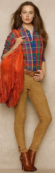 What a wonderful country look with colourful check shirt, fringed tribal bag and moleskin style pants........................................................Please visit us at Cybelle.com.au