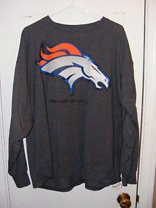 8183b7305 NFL Team Apparel Denver Broncos Charcoal Color Long Sleeve Shirt Men s Size  2X