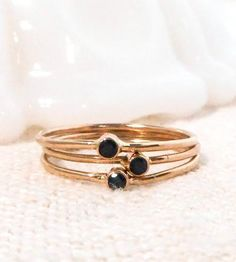 Petite Black Spinel & Gold Ring Trio by Tarnished & True on Scoutmob Shoppe