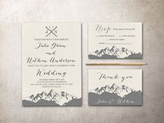 Mountain Wedding Invitation Printable, Winter Wedding Invitations, Fall Wedding Invite, Wedding Stationery, Modern wedding Ideas, DIY wedding planning. For more digital invitations: tranquillina.etsy.com