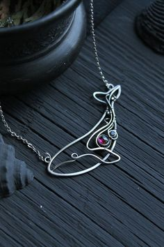 Blue whale silver pendant with rhodolith garnet Sterling