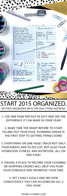 Start 2015 off with a bang! Organize events, to-dos, fitness, hydration, nutrition and more with the Daily Page Notepad.