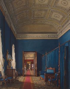 Interiors of the Winter Palace. The First Reserved Apartment. Dressing Room of Duke M. Leuchtenberg - Edward Petrovich Hau - Interiors of the Winter Palace. The First Reserved Apartment. Dressing Room of Duke M. Interior Rendering, Interior Exterior, Palazzo, Imperial Palace, Imperial Russia, Winter Palace, Hermitage Museum, Watercolor Images, Le Palais