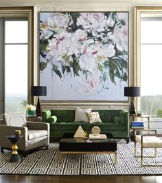 Hand-painted oversized Abstract Flower Oil Painting by Jackson – CZ Art Design