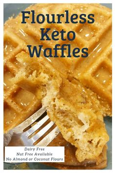 Flourless Keto Waffles-no dairy and can be nut free! #threeingredients #brunch #mothersday #lowcarb #recipe #easy #simple #families #best #classic #forone #peanutbutter #3ingredient