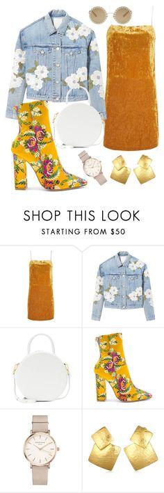 """Fashion Week: Outfit #10"" by trendingsetter ❤ liked on Polyvore featuring Topshop, Rebecca Taylor, Mansur Gavriel, Raye, ROSEFIELD, Oscar de la Renta, Dolce&Gabbana, denim, Boots and velvet"