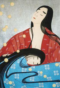 Hanachirusato to Tamakazura, from the Tale of Genji bu Shusui Taki