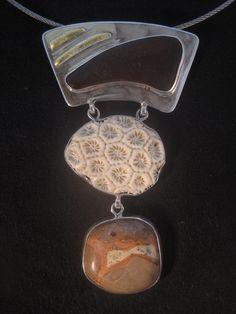 Gold Leaf Sterling Silver Hand Carved Bone/Coral Sea Glass Peruvian Jasper. www.e-bu-jewelry.com