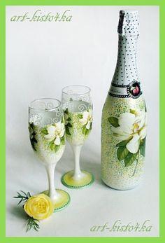 Шампанское и бокалы к свадьбе - Ярмарка Мастеров - ручная работа, handmade