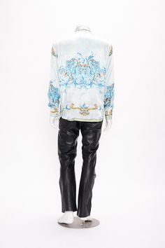 light blue shirt with ornate motif by versace jeans couture vintage 1990s • Revival Vintage Boutique by RevivalVintageBoutiq on Etsy