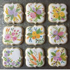Hand painted floral cookies by Amuse Bake Shop