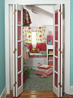 More Than Just a Closet Makeover...Kids might not appreciate a walk-in closet like adults do, but it helps to rethink the space as a mini bonus room. A small-scale remodeling project in this dormer-space closet knocked out a section of wall to make room for toy-storage cabinets and a child-size window seat. With hanging and cubby clothes storage on the left wall and extra floor space to the right, this walk-in closet now doubles as a perfect pint-size secret hideaway. for-the-home