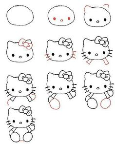 How to Draw Hello Kitty. Are you a big fan of this cute little character? Do you want to draw this character? Hello Kitty is a popular character created by Sanrio. This is a quick and easy tutorial on how to draw Hello Kitty. Draw a large. Drawing Lessons, Art Lessons, Drawing Techniques, Drawing Topics, Drawing Skills, Doodle Drawings, Easy Drawings, Drawing For Kids, Art For Kids