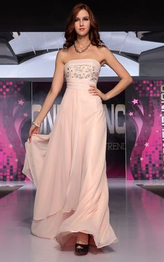 Pink Sleeveless Beading Layered Long Evening Dress