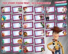 Toy Story 4 Food Tent 32 designs - PrintDParty Selling Birthday Invitation and Printable Party Decoration Digital File. Toy Story Invitations, Cars Birthday Invitations, Party Food Labels, Party Printables, Toy Story Food, Food Tent, Birthday Thank You, 4th Birthday Parties, Blank Cards