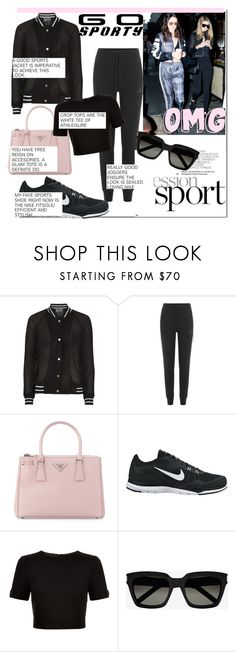 """Go Sporty with the Hadid's..."" by nfabjoy ❤ liked on Polyvore featuring Antipodium, NIKE, Prada, Ted Baker, Yves Saint Laurent and sportystyle"
