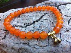Orange Jade Gemstones Stretch Bracelet Healing by MiaCocoDesigns, $12.00