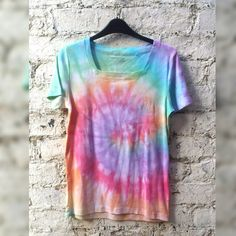 Hippie Tie Dye Tshirt Rainbow Colours to fit size S Tumblr Hipster Music Festival Trippy Psychedelic T-shirt