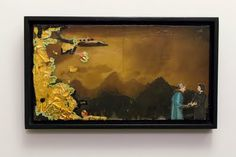 """""""a greeting"""" collage with resin, framed by Katelyn Di Giulio"""