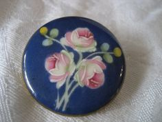 Large VINTAGE Blue Painted Rose Flower BUTTON by abandc on Etsy