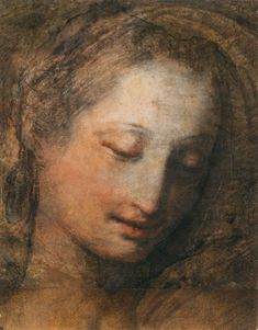 Federico BAROCCI (1526-1612). Face of a Woman with Downcast Eyes, Pastel on chamois paper, 272 x 213 mm   Louvre Museum