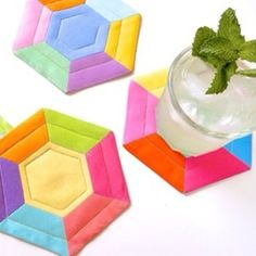 Grab a drink and follow this easy Summer Hexie Coasters tutorial at swatchandstitch.com #precuts #hexies #summersewing