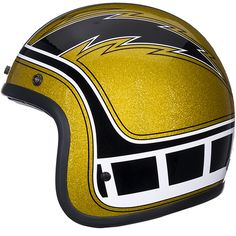 The Bell Custom 500 Hurricane Helmet | yellow gold metal flake with Kenny Roberts Yamaha paint and Chargers style lightning bolts