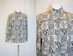 58c2158b13109 1990 s Leopard Cheetah Black White Tan Blouse Size 10 by Retromomo Cheetah  Print