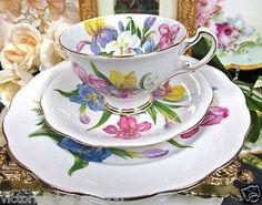 Šálek na čaj trio * bílý porcelán s ručně malovanými barevnými mečíky ♥