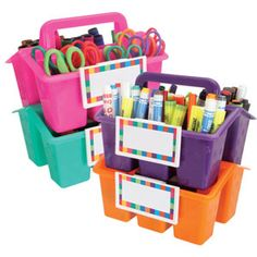 Colorful (and labeled!) caddies are perfect for keeping the classroom organized