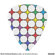 Black Outlined Rainbow 4 Point Stars Guitar Pick