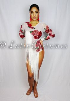 Dancesport latin ballroom salsa dance custom made competition dress costume with white long fringe and floral rose detail. Brand new, custom made and designed by Toronto Latin Costumes. Made to fit an adult xs-s. Built in C cups. Enclosed bodysuit. This white stretch mesh fabric has a